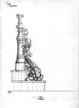 filter_Lion Finial Drawing Metal Sculpture